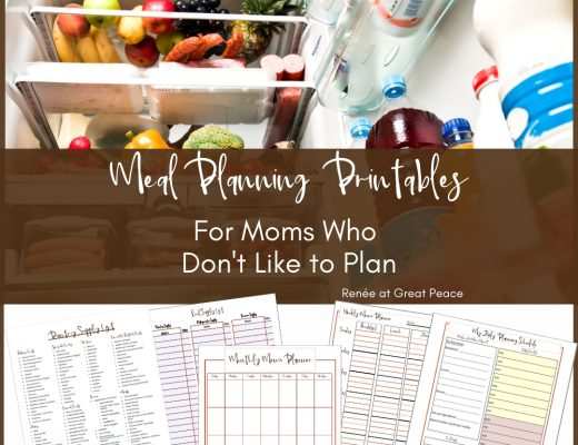 Family Meal Planning Printables for Moms who Don't Like to Plan | Renée at Great Peace #mealplanning #dinnerideas #familymeals