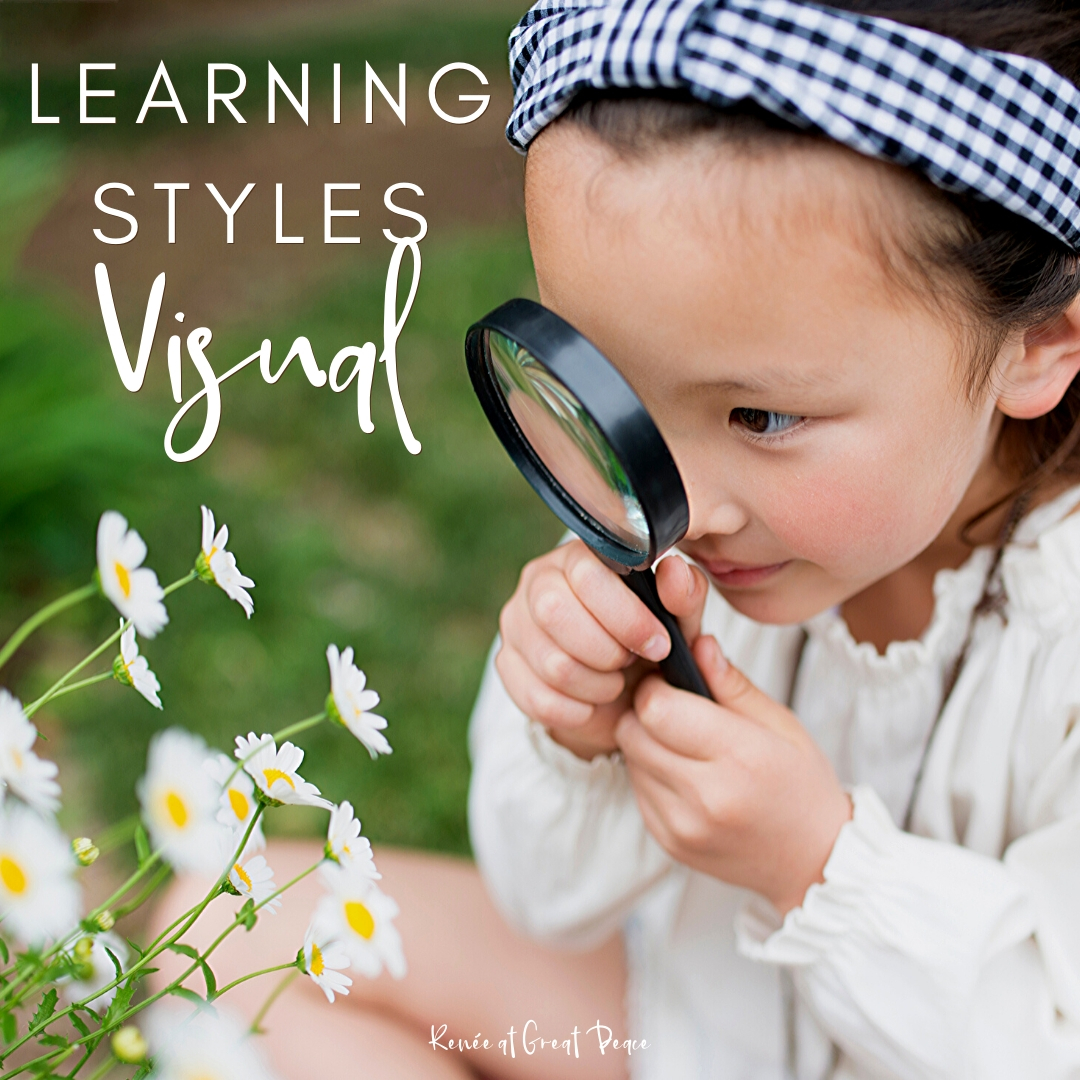 Learning Styles to Know About for Homeschool - Visual | Renee at Great Peace #homeschool #homeschooling #howtohomeschool #homeschoolmoms #learningstyles #education #ihsnet