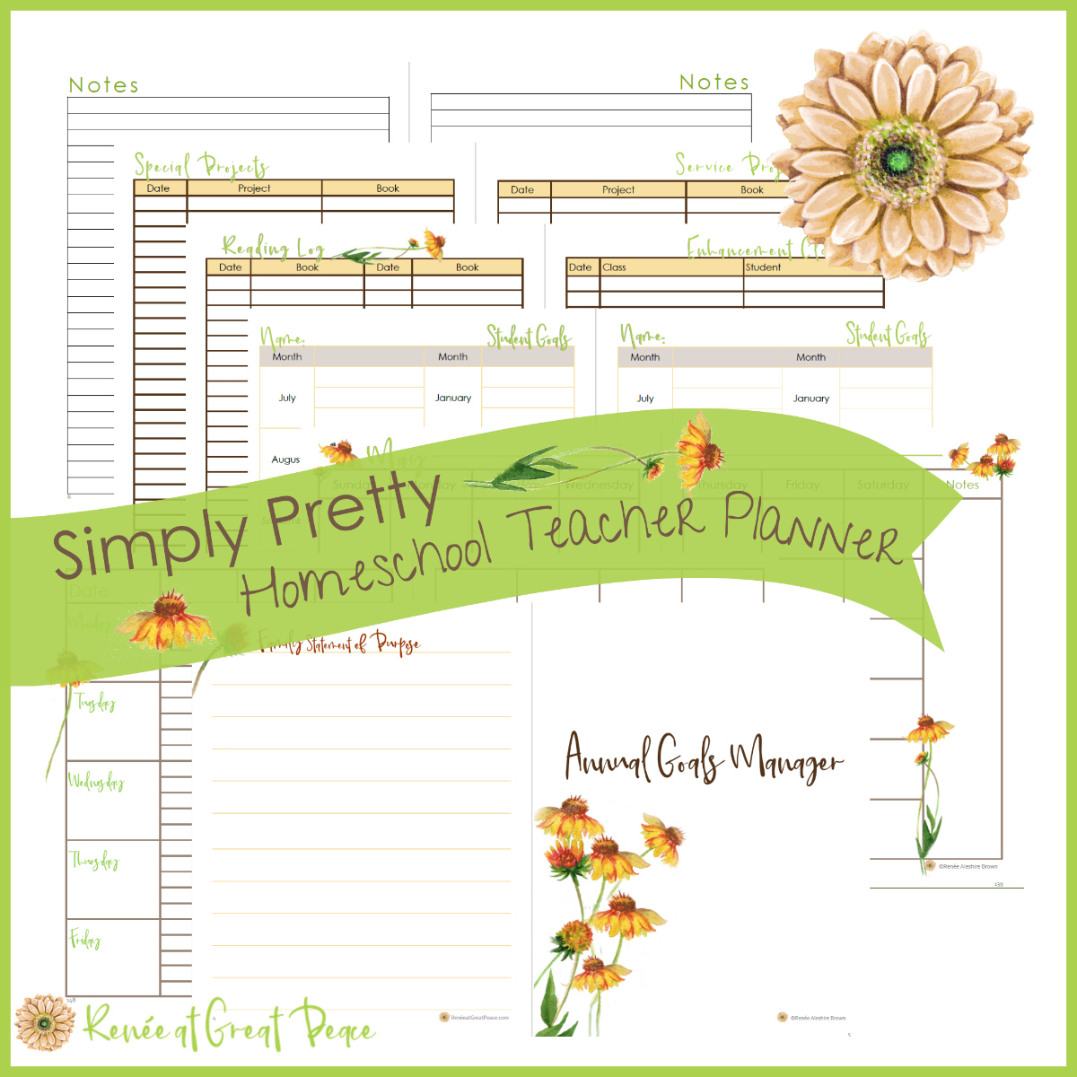 Get Your Free homeschool Teacher Planner | Renée at Great Peace #ihsnet #homeschool