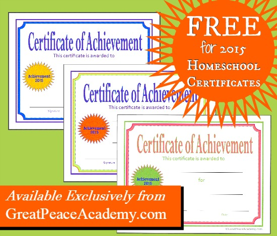 New Homeschool Certificates for 2015