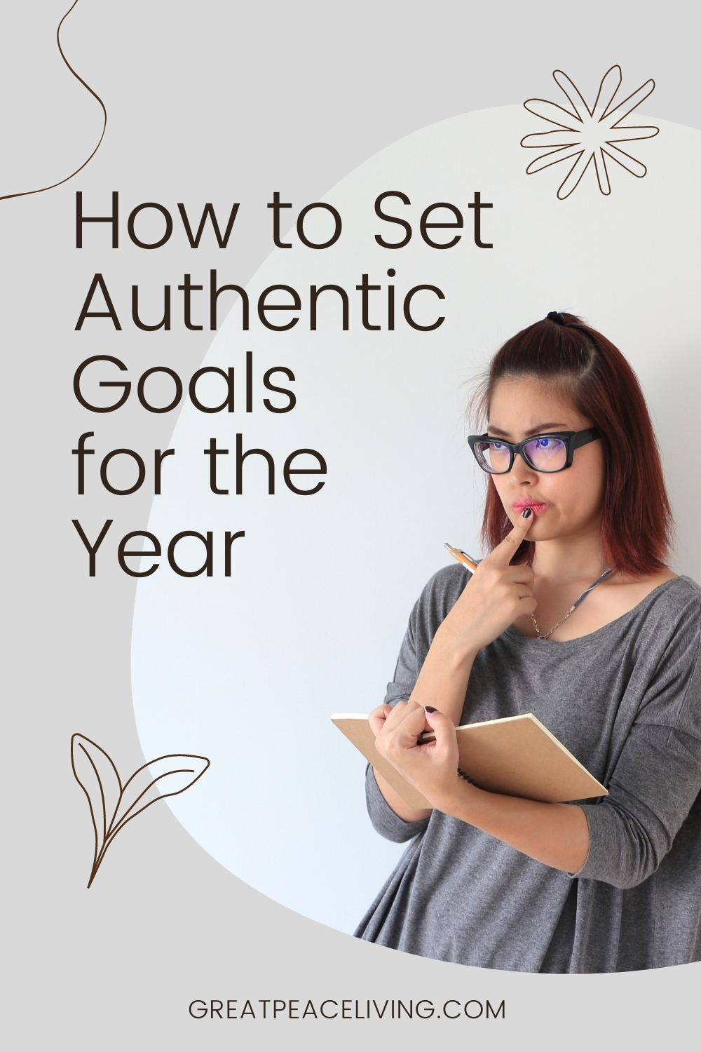 Text: How to set goals for the new year, Image: Woman holding planner and pencil with a thinking look.