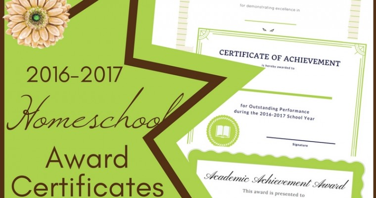 Homeschool Award Certificates for 2016-2017