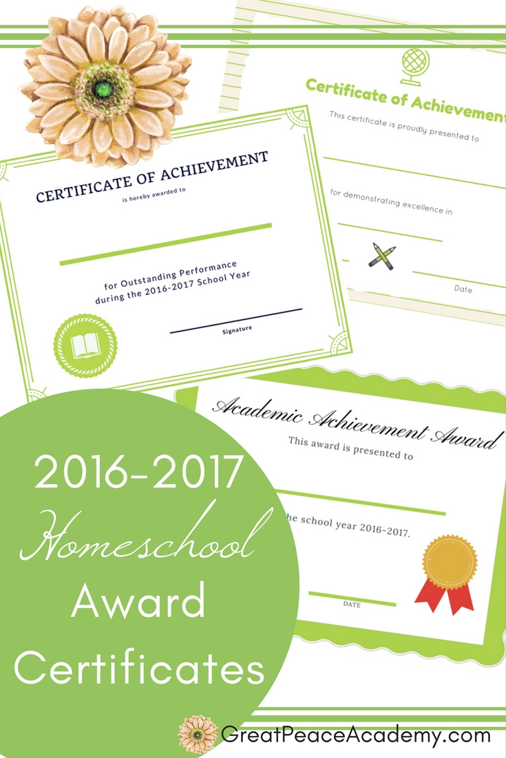 Award your homeschool students w/ these 2016-2017 Homeschool Award Certificates | Free Printables @GreatPeaceAcademy.com