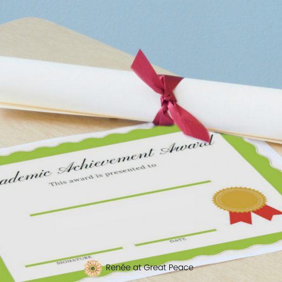 Printable Award Certificates for your Homeschool | Renée at Great Peace #homeschool #printables #ihsnet