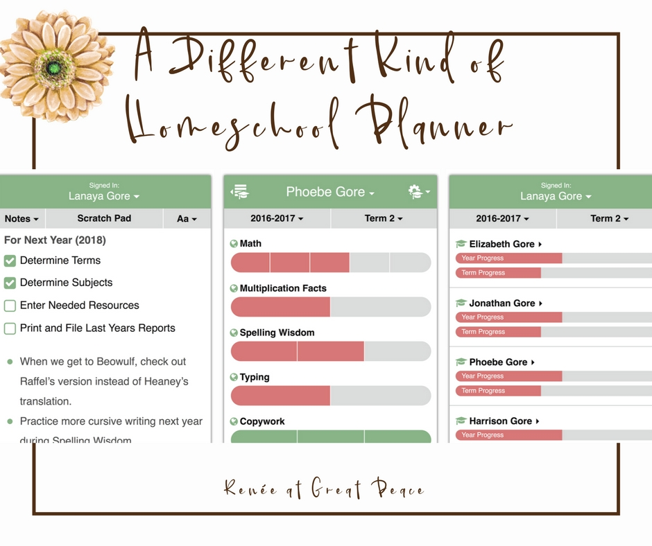 Learn about a New Flexible Homeschool Planner App | Renée at Great Peace #ihsnet