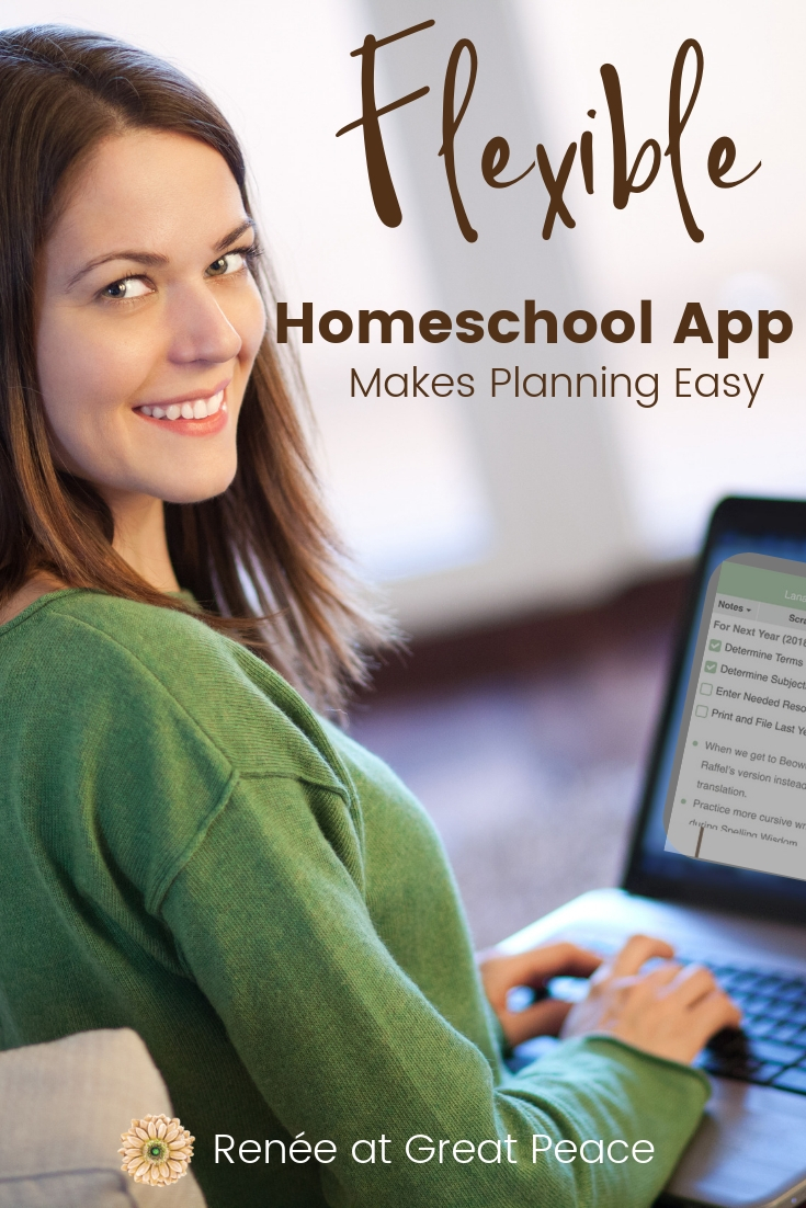 Flexible Homeschool App Makes Planning Easy | Renée at Great Peace #homeschool #planningapp #ihsnet