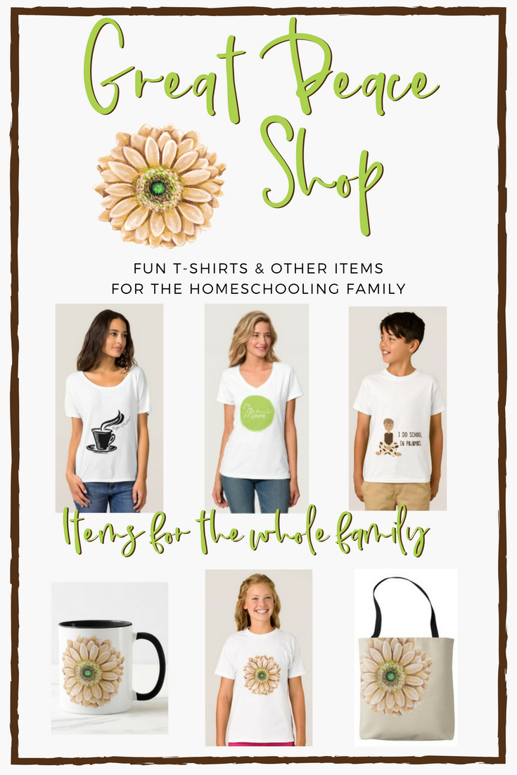 Great Peace Shop find fun t-shirts and other items for the whole family. | RenéeatGreatPeace.com #homeschool #ihsnet