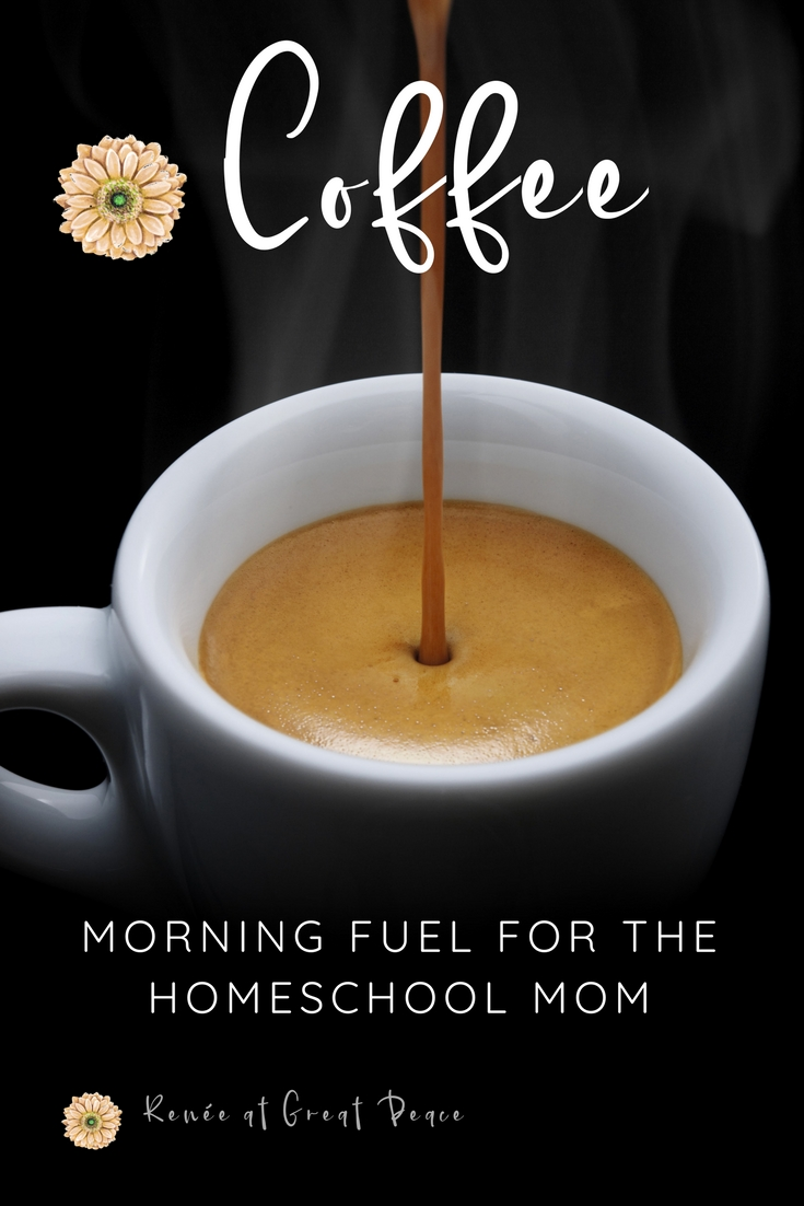 Coffee, Morning Fuel for the Homeschool Mom, and a FREE Bag of Organic Coffee offer | Renée at Great Peace #ihsnet #homeschool #coffee