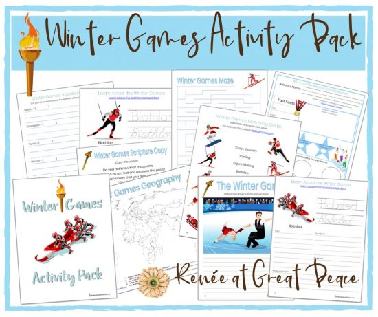 Winter Games Printable Activity Pack | Renée at Great Peace #wintergames #homeschool #printables #ihsnet