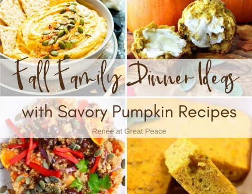 Fall Family Dinner Ideas Using Savory Pumpkin Recipes | Renée at Great Peace #mealplanning #dinnerideas #fallrecipes #savorypumpkin