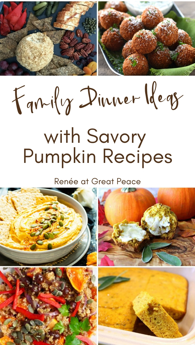 Fall Family Dinner Ideas Using Savory Pumpkin Recipes | Renée at Great Peace #mealplanning #dinnerideas #fallrecipes #savorypumpkin