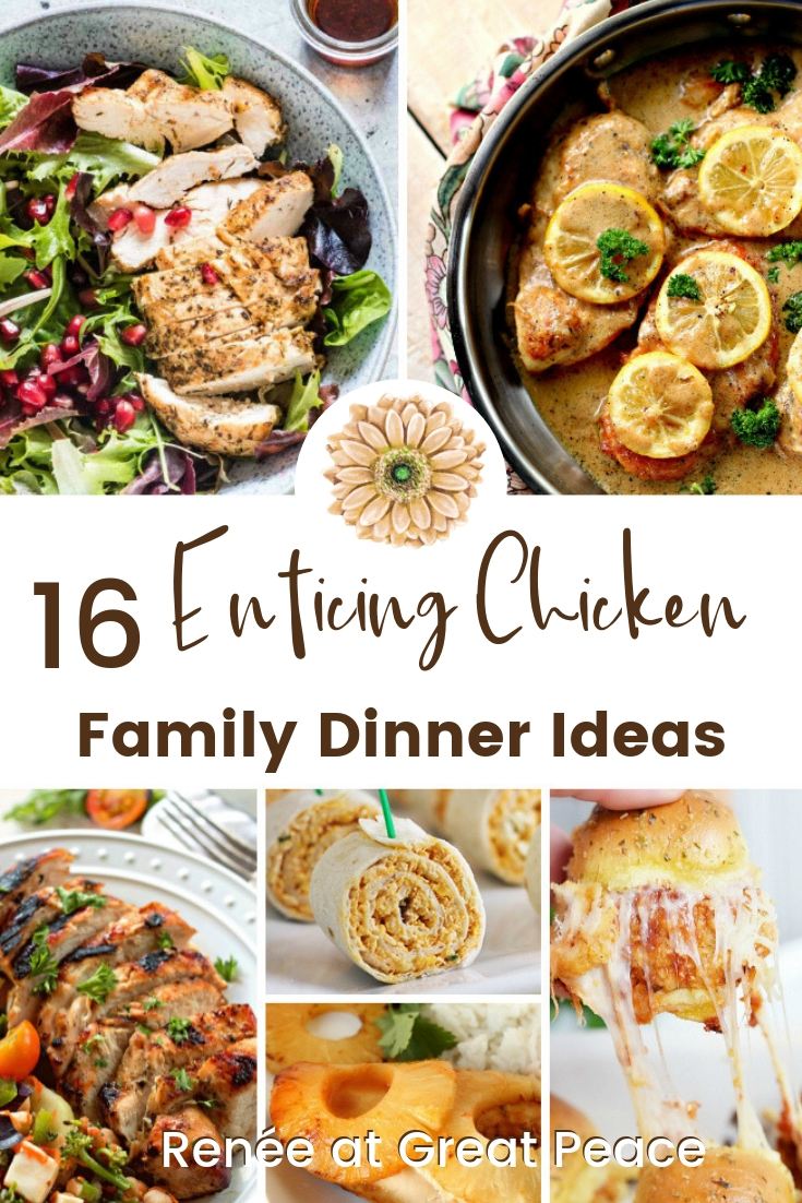 16 Enticing Chicken Family Dinner Ideas | Renée at Great Peace #mealplanning #familydinnerideas #chickenrecipes #ihsnet