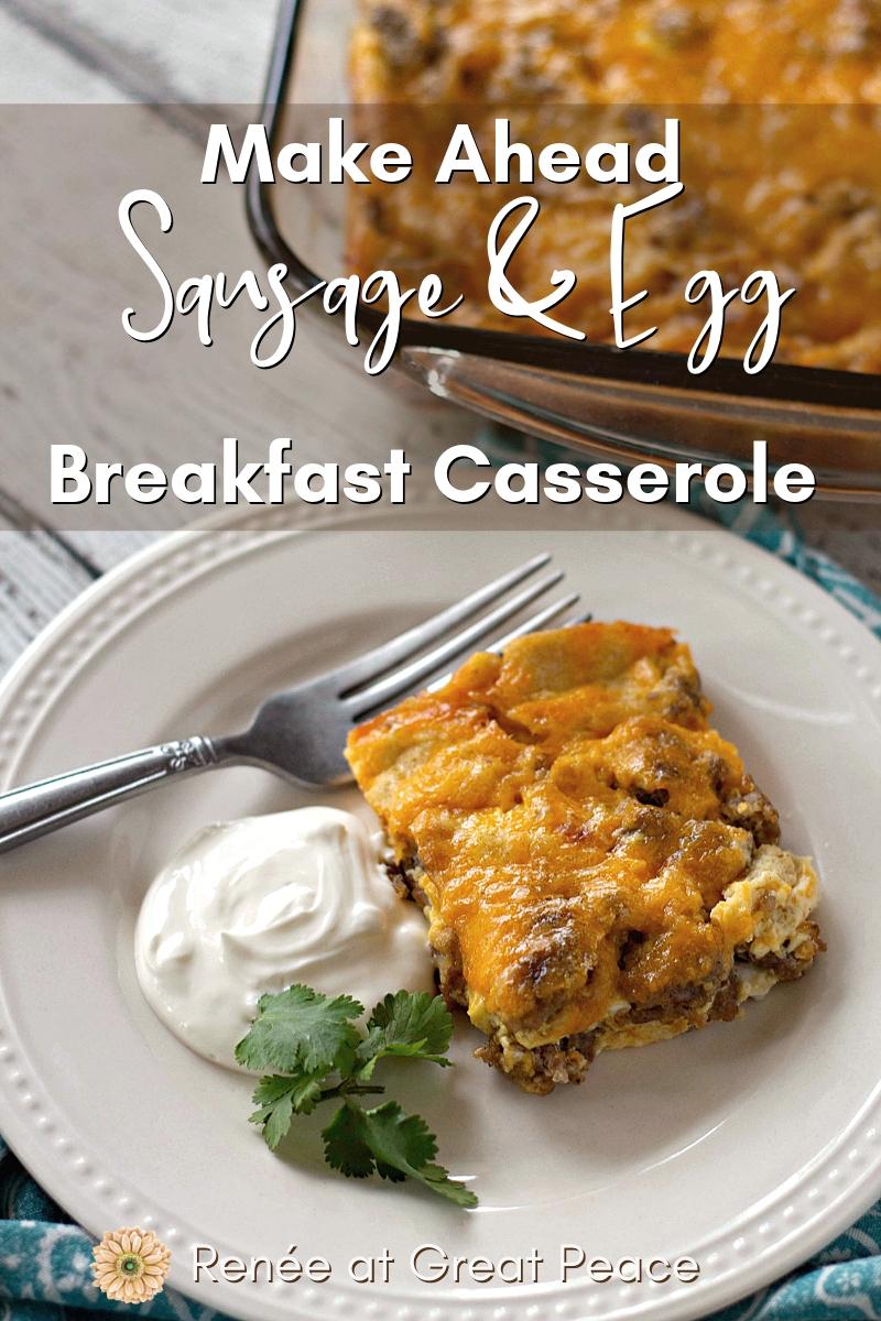 Make Ahead Breakfast Casserole | Renée at Great Peace #mealplanning #breakfast #familybreakfastideas #family