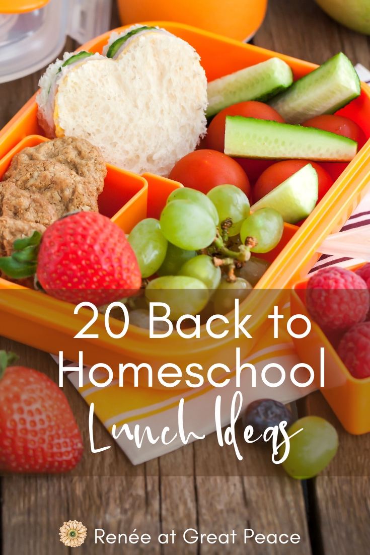20 Back to Homeschool Lunch Ideas | Renee at Great Peace #homeschool #lunchideas #ihsnet #mealplanning