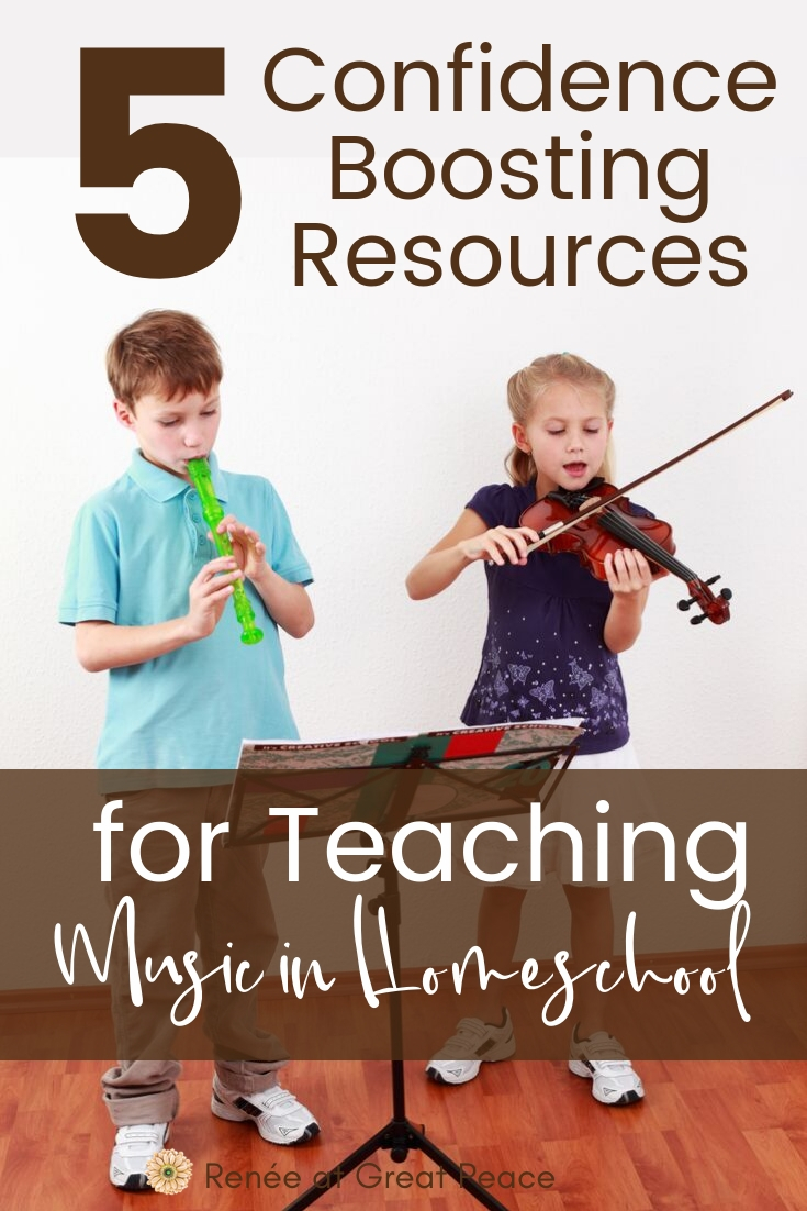 5 Confidence Boosting FREE Resources for Teaching Music in Homeschool | ReneeatGreatPeace.com #music #homeschool #homeschoolmom #homeschooling #musicinhomeschool #ihsnet
