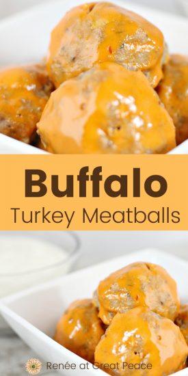 Family Dinner Idea: Recipe for Buffalo Turkey Meatballs | Renee at Great Peace #familydinnerideas #dinnerideas #falldinnerideas #tailgating #football #potluck #fingerfoods #snacks #meatballs #buffalosauce #mealplanning