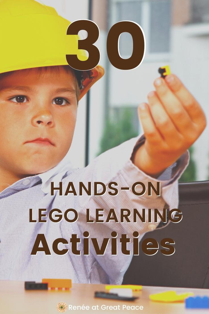 30 Hands-on LEGO Learning Activities | Renee at Great Peace #LEGO #LEGOLearning #handsoneducation #learnthroughplay #homeschool #homeschooling #ihsnet
