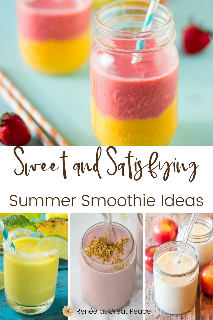 Sweet & Satisfying Summer Smoothie Ideas | Renee at Great Peace #mealplanning #smoothies #breakfastideas #snackideas #sweettreat #healthyeating #summersnackideas