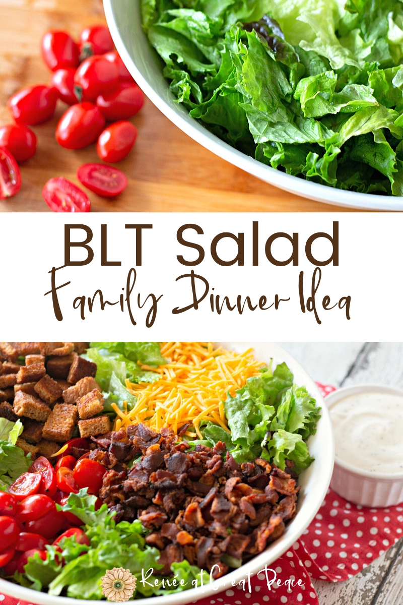 BLT Salad, a Simple and Savory Family Dinner Idea | Renee at Great Peace #familydinnerideas #dinnerideas #dinner #whatsfordinner #mealplanning