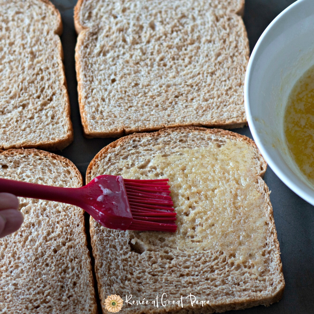 Brush Butter on Bread with Pastry Brush for delicious croutons for BLT Salad