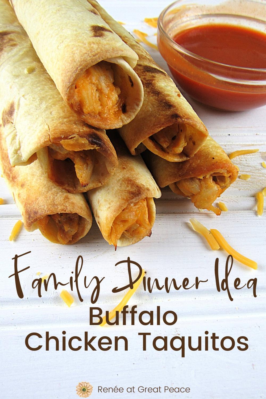 Buffalo Chicken Taquitos - Family Dinner Idea | Renee at Great Peace #mealplanning #dinnerideas #familydinnerideas #family #mealtime #dinner