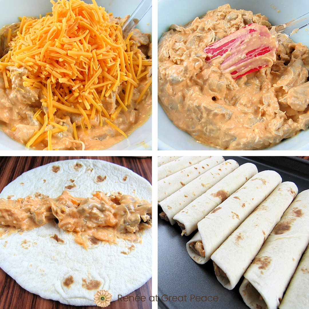 How to Make Buffalo Chicken Taquitos - Family Dinner Idea | Renee at Great Peace #mealplanning #dinnerideas #familydinnerideas #family #mealtime #dinner
