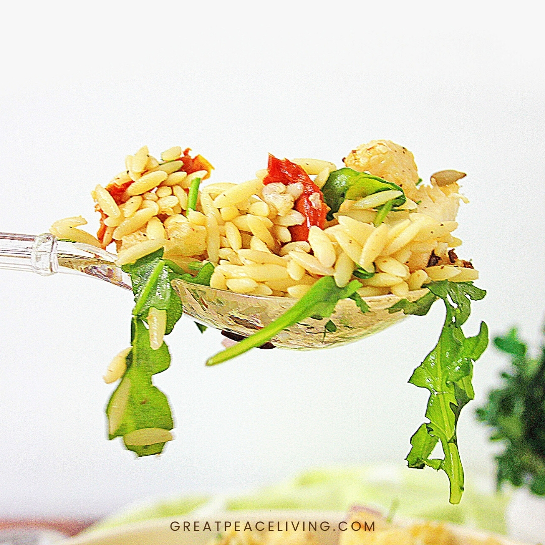 Roasted Cauliflower Salad on a fork