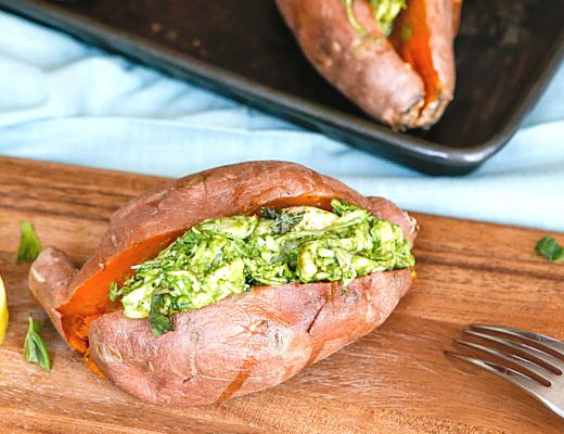 Pesto Chicken Stuffed Sweet Potatoes | Family Dinner Idea via Great Peace Living #mealplanning #dinnerideas #sweetpotatoes #recipe #pestochicken #dinner