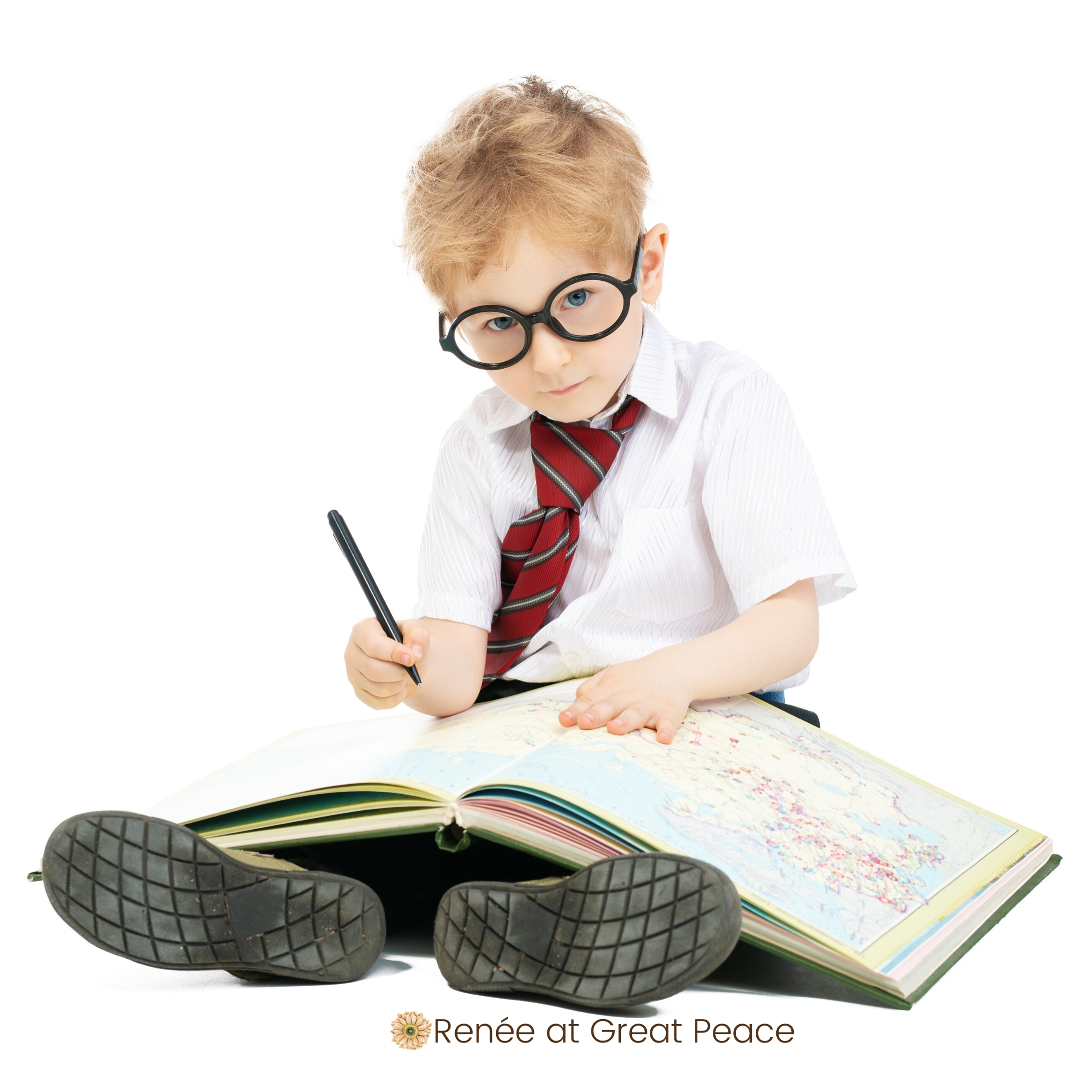 Image: Cute boy with studying map book.