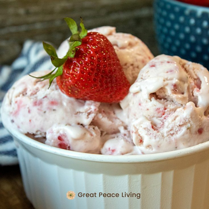 Strawberry No Churn Ice Cream | Great Peace Living #icecream #desserts #recipes #summerdinnerideas #familydinner