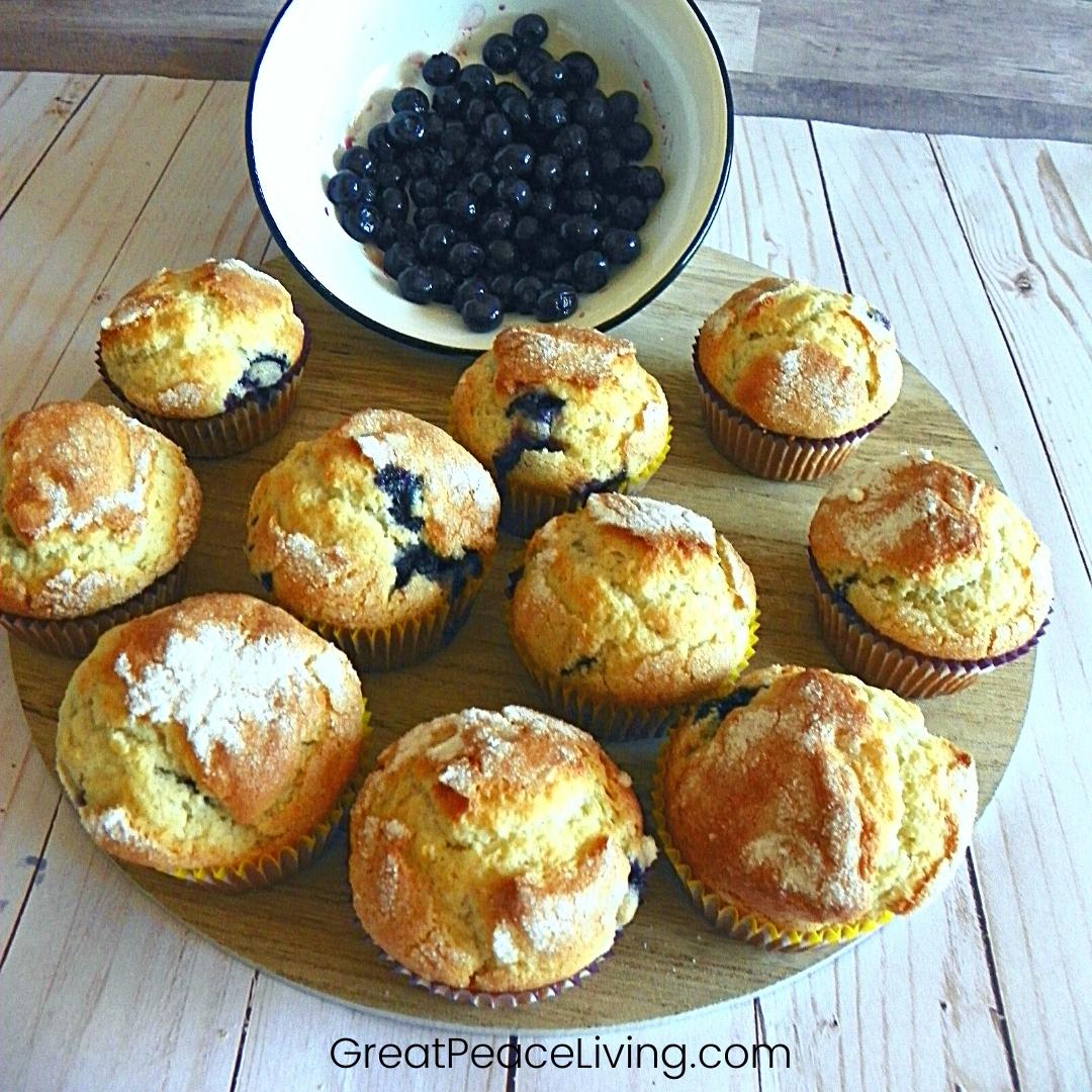 Blueberry Muffins   GreatPeaceLiving.com